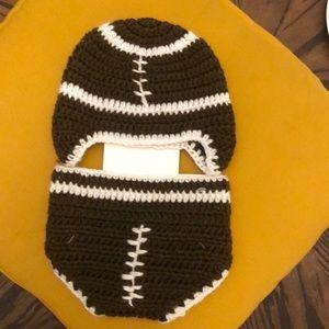 NWT Hand Crocheted Hat & Diaper Set